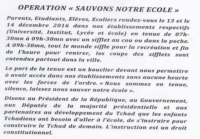 Au Tchad, le collectif «ça doit changer» lance l'opération «Sauvons notre école»