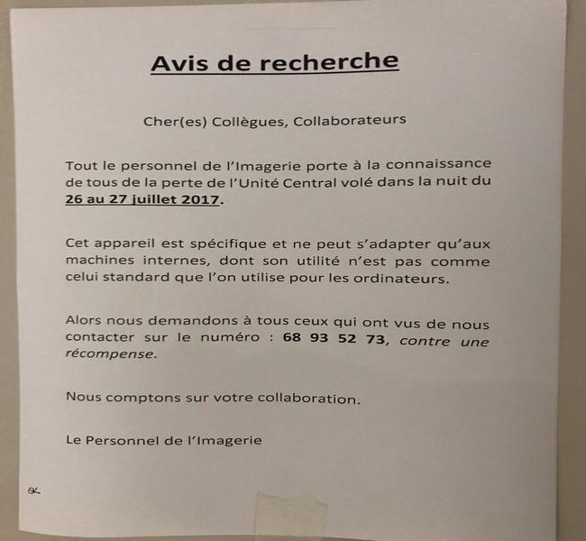 On vole de tout au Tchad: l'Hôpital de la Renaissance à la recherche de l'unité centrale du service de l'imagerie
