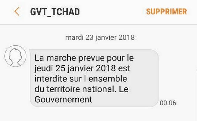 Tchad: le gouvernement impose aux opérateurs l'envoi d'un SMS à tous les utilisateurs pour annoncer l'interdiction d'une marche pacifique