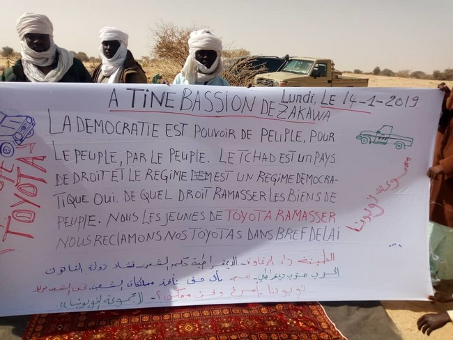 Tchad: manifestation de jeunes Zaghawa de Tiné pour réclamer leurs véhicules saisis par les autorités